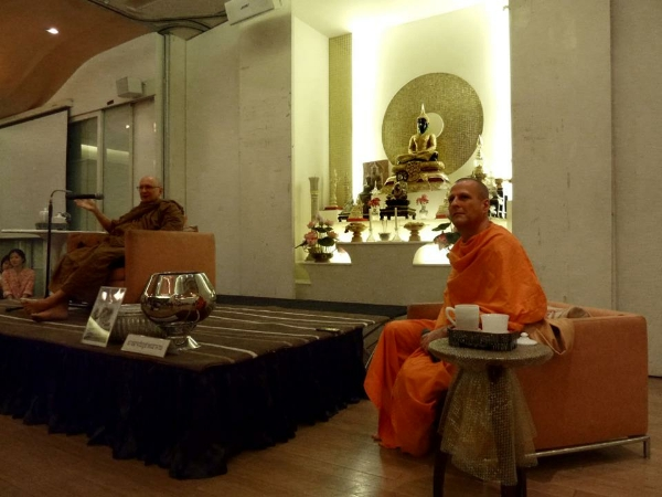 Ajahn Tiradhammo and Pandit Bhikkhu at DMG