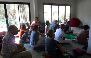 Bangkok meditation group sitting in Rayong Beach Retreat